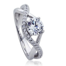 Women 7mm Platinum Plated Sterling Silver 1ct CZ Infinity Engagement Ring set
