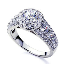 Women 7mm Platinum Plated Sterling Silver 1ct CZ Halo Engagement Ring set