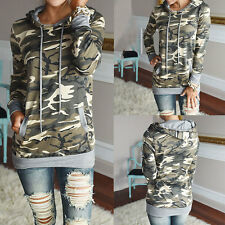 Women Fashion T Shirt Camouflage Hooded Pocket Outwear Tee Sweater Top Pullover