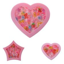 Children Adjustable Mixed Plastic Rings with Pink Box Girls Cartoon Jewelry Gift