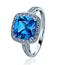 Women's Fine band 14K White Gold 2.75ct Blue Sapphire CZ Halo Cocktail Ring