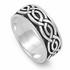 Men 9mm 925 Sterling Silver right hand Band Celtic Spinner Ring / Gift Box