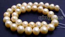"SALE Huge 10-11mm Pink Round natural Freshwater pearl Loose Beads 15""-los179"