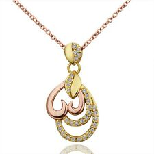 Charms 18K Gold Plated Chain Love Heart Crystal Women Necklace & Pendant Jewelry