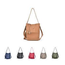 P408 Medium Wood Tassel Faux Leather Hobo Bag Crossbody Tote Womens Shoulder Bag