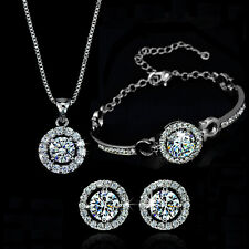 Classic 18K Gold Gp Swarovski Crystal Jewelry Necklace Earring Bracelet  Set