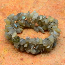 "STRETCHY 5 1/2"" NATURAL LABRADORITE GEMSTONE CHIP BRACELET"