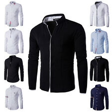New Long Sleeves Mens Luxury Casual Shirts Slim Fit Solid Stylish Dress Shirts