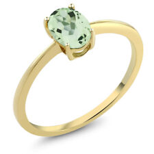 0.75 Ct Oval Green Amethyst 10K Yellow Gold Solitaire Engagement Ring