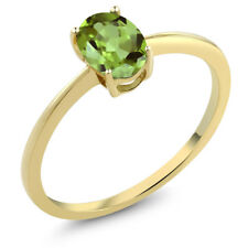 0.80 Ct Oval Green Peridot 10K Yellow Gold Solitaire Engagement Ring
