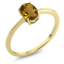 0.70 Ct Oval Whiskey Quartz 10K Yellow Gold Solitaire Engagement Ring