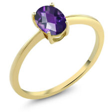 0.75 Ct Oval Checkerboard Amethyst 10K Yellow Gold Solitaire Engagement Ring