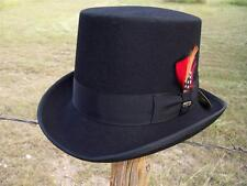 New QUALITY Scala Black Wool Victorian Topper Formal Tuxedo TOP HAT Pick Feather