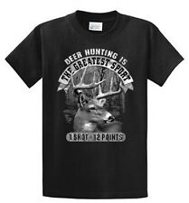 Deer Hunting Mens Graphic Tee Shirts Black Reg to Big and Tall Size Port and Co