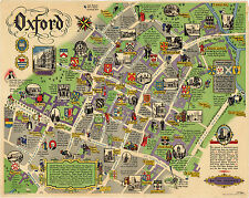 Pictorial Map Oxford London British Railways Historic Antique Wall Art Poster