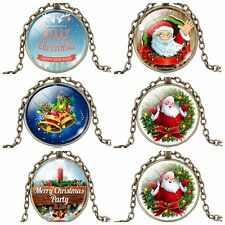 1Pc Glass Christmas Cabochon Santa Xmas Cabochon Pendant Sweater Chain Necklace