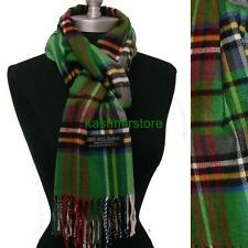 New 100% Cashmere Scarf Green Plaid Check Scotland Soft Wool Wrap Unisex