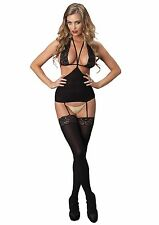 Opaque Cut Out Suspender Bodystocking With Lace Halter Bodice (Black;One Size)