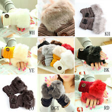 Women Knitted Fingerless Gloves Wrist Warm Mittens Hand Warmer Faux Rabbit Fur