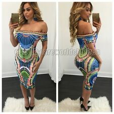 Sexy Women Print Dress Off Shoulder Tight Sleeveless Evening Party Mini Dress