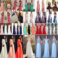 High Long Chiffon Lace Evening Formal Cocktail Ball Gown Prom Bridesmaid Dress