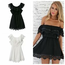 Lady Elastic Off-Shoulder Lace Splice Backless Wrapped Chest Corset Mini Dress