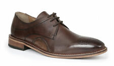 Giorgio Brutini Reddington Brown Leather Lace Up Oxford Dress Shoes With Inset