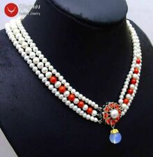 """6-7mm Round White Natural FW pearl & red coral 3 strands 18-19"""" necklace-nec6080"""