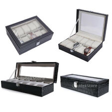 Faux Leather Watch Case Organiser Bracelet Storage Jewelry Display Box Pillows