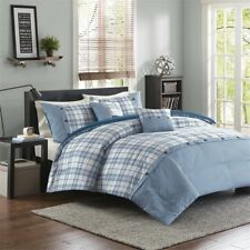 NEW Twin XL Full Queen King Bed 5 pc Teal Blue White Plaid Comforter Set Sporty