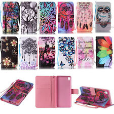 card holder phone case For Sony cute patterns pu leather stand wallet flip cover