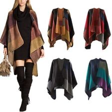 Cashmere Scarf Patchwork Plaid Poncho Lady Cape Poncho Wrap Shawl Blanket Cloak
