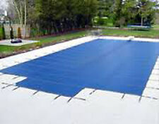 16' x 32' Blue Mesh Inground Rectangle Safety Pool Cover w/ 4' x 8' Center Step