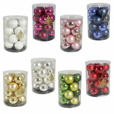 Christmas Tree Decoration Glass Baubles - 16 Pack 40mm - Choose Colour