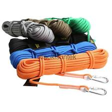 10M/20M 12KN Safety Outdoor Climbing Sling Rappelling Auxiliary Rope + Carabiner