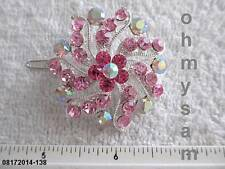 """(1 )NEW SILVER TONE METAL HAIR CLIP / CLEAR / MULTICOLOR / STONE  1 5/8"""" ROUND"""
