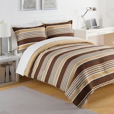 NEW Twin Full Queen King Bed Bag Brown Tan White Stripes 3 pc Comforter Set NWT
