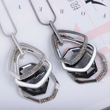 Fashion Crystal Irregular Polygon Pendant Long Sweater Chain Necklace Xmas Gifts