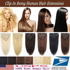 16''18''20''22''24''26'' 7pcs Remy Hairpiece Clip In Real Human Hair Extensions