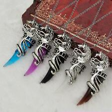 Mens Dragon Head Wolf Tooth Opal Crystal Pendant Ball Chain Necklace Jewelry