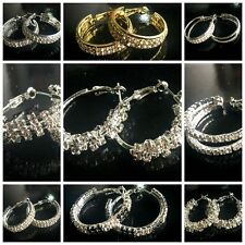 TOP popular With rhinestone circle Simple gold silver hoop earrings for women
