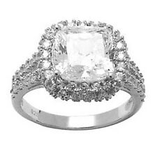 Sterling Silver Princess Cubic Zirconia Ring -3.76 ct tw