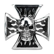 Inox Jewelry 316L Stainless Steel Iron Cross Skull Ring