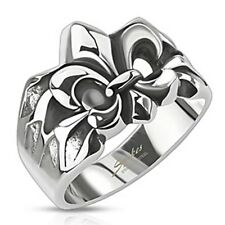 Spikes Stainless Steel Royal Fleur De Lis Cast Ring