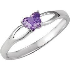 Sterling Silver February CZ Birthstone Youth Ring by Bfly