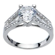 Sterling Silver Round Cubic Zirconia Ring -1.94 ct tw