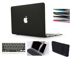 Black Sleeve black hard case keyboard cover screen protector For Macbook Pro Air
