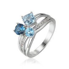JewelryPalace Natural Swiss London Blue Topaz 3 Stones Ring 925 Sterling Silver