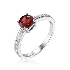 JewelryPalace 1.3ct Red  Garnet White Topaz Engagement Ring 925 Sterling Silver