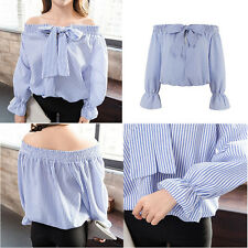 Women's Loose Casual Off the Shoulder Tops Shirt Ladies Stripes T-shirt Blouse